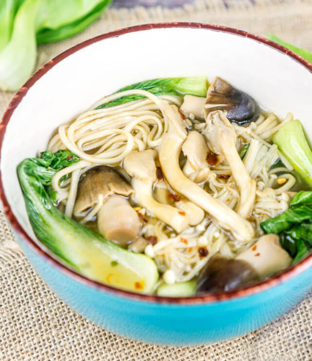Lemongrass Ginger Mushroom Soup With Soba Noodles