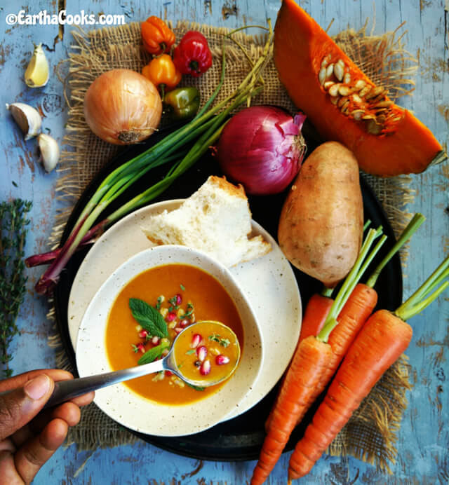 Creamy Jamaican Pumpkin (or Squash) & Carrot Soup