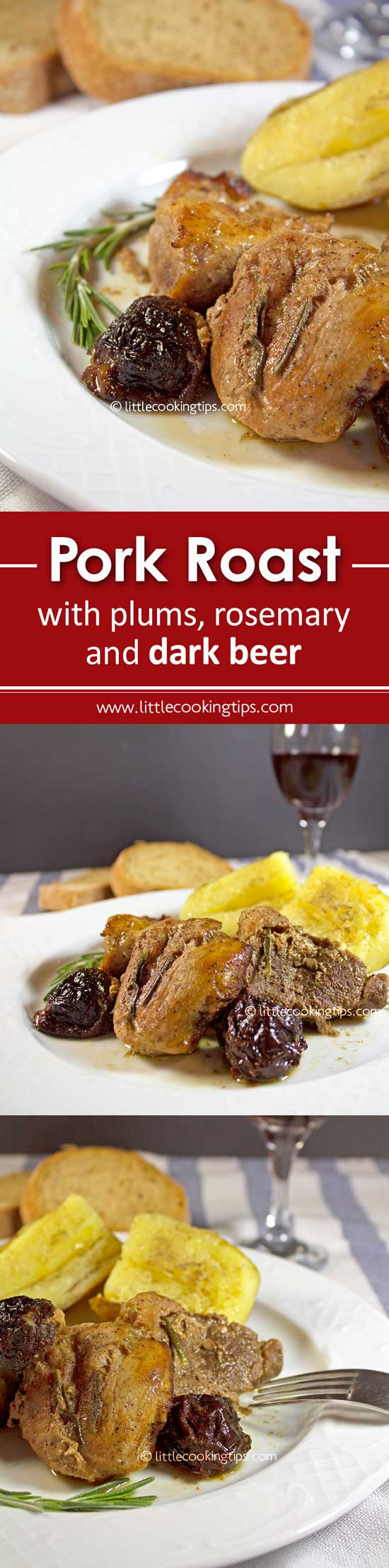 Pork Roast with plums, rosemary and dark beer