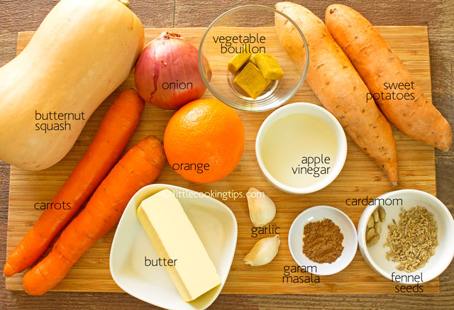 Little Cooking Tips - Hearty Roasted Butternut Squash Soup Ingredients