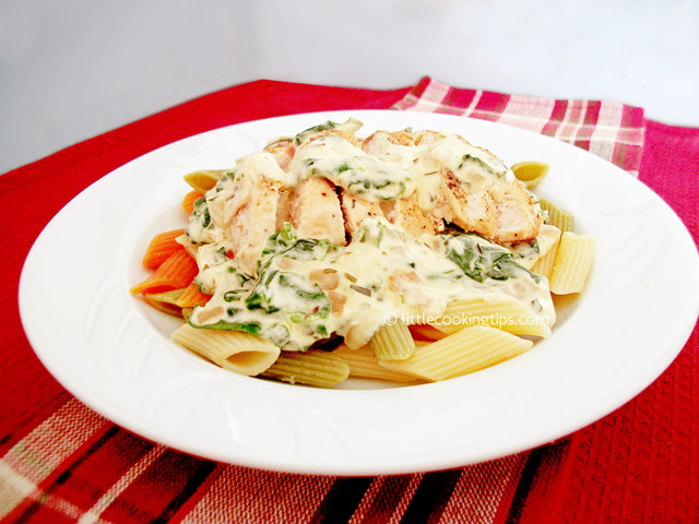 Little Cooking Tips Creamy Chicken Pasta with Spinach