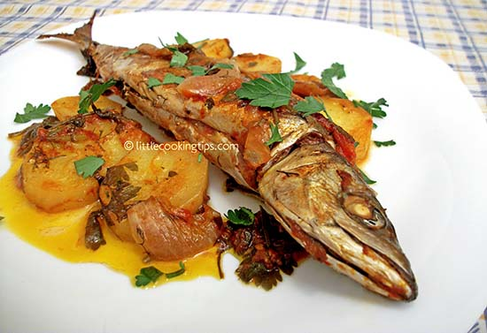 "Fish ""plaki"" (Greek-style baked fish with tomato and potatoes)"