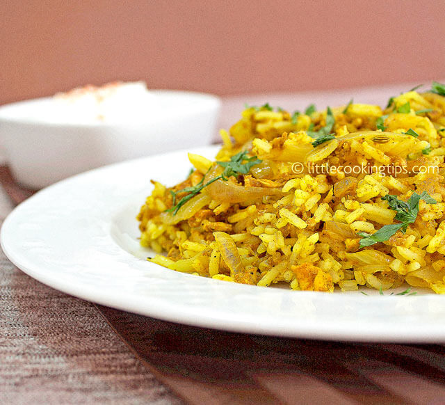 Little Cooking Tips Fried rice with egg and curry