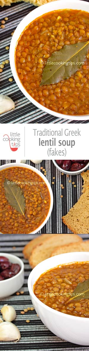 Traditional Greek lentil soup (fakes)