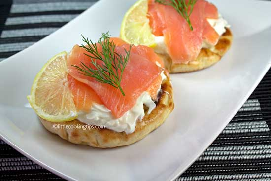Smoked salmon, Greek yogurt and cream cheese Pitas