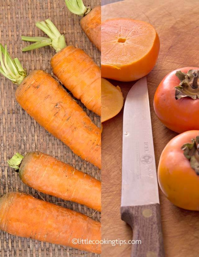 Carrots and persimmons: fall and winter vegetables and fruits