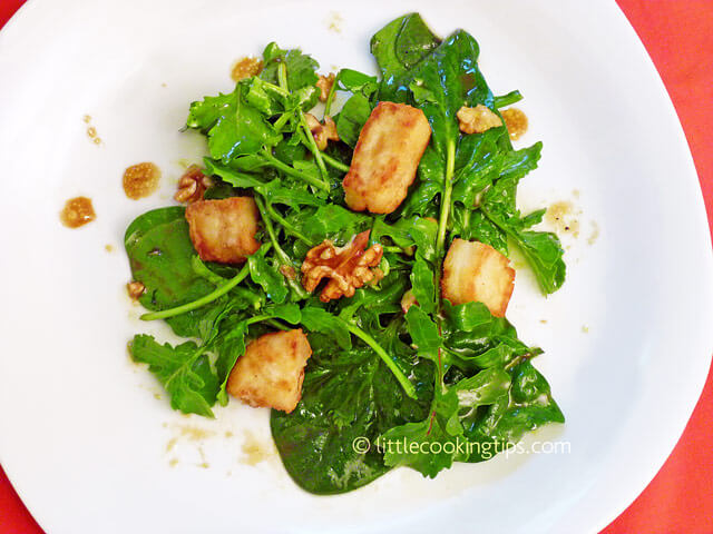Little Cooking Tips Spinach Arugula and Halloumi salad