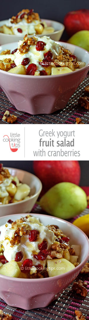 Delicious fruit salad with Greek yogurt and dried cranberries