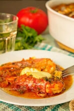 Baked shrimp with tomatoes and feta (garides saganaki)