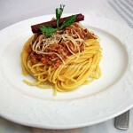 A devine Spaghetti with Ground Beef (in Bolognese style sauce)